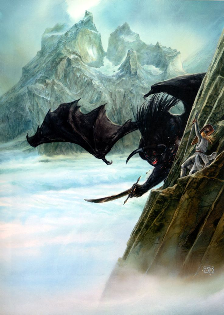 The Lord of the Rings - John Howe Art - Glorfindel V Balrog at Gondolin