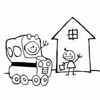 Coloriage un car bus transport scolaire et un l ve devant l 39 cole moyen de transport - Coloriage car scolaire ...