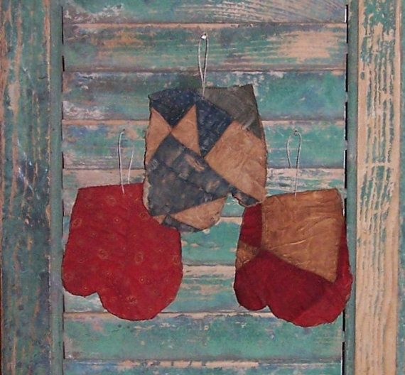 Tattered Ornaments - set of 3 mittens made from antique quilt. $14 on Etsy!