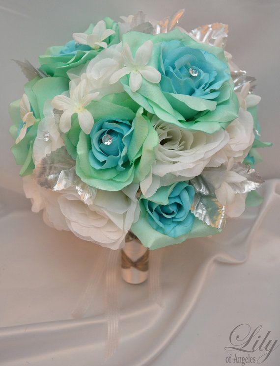 "17pcs Wedding Bridal Bouquet Set Decoration Package Silk Flowers AQUA BLUE/GREEN ""Lily Of Angeles"" on Etsy, $199.99"