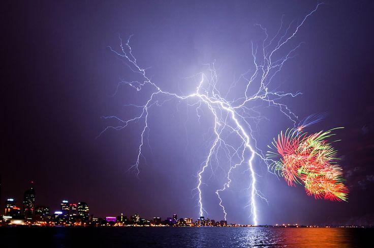Australian Weather Calendar 2013. fireworks during Australia Day 2012 celebrations in Perth, Western Australia