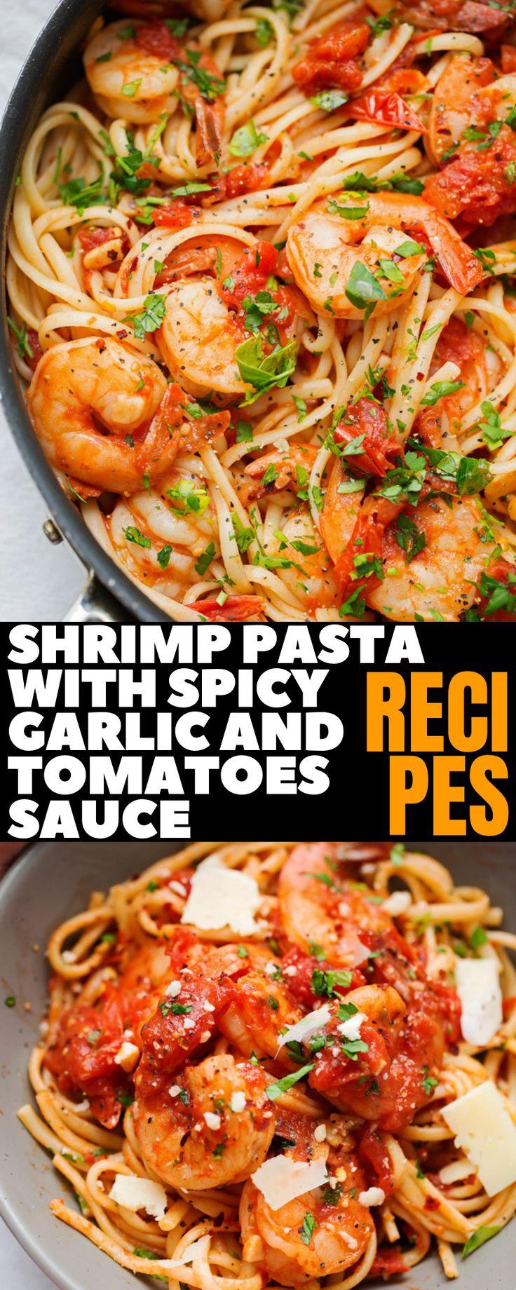 Sommerzeit-Garnelennudeln mit würzigem Knoblauch und Tomatensauce-Abendessen-Rezepten #dinnerrecipes #shrimp