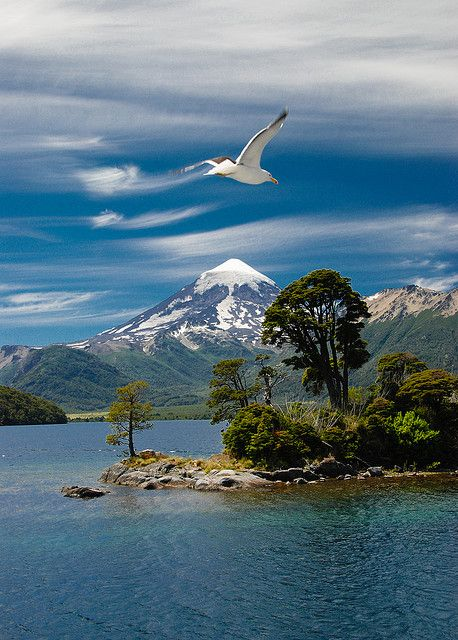 Volcano Lanin, Lake Huechulafquen, Patagonia,  Argentina. by Laurent Lecordier