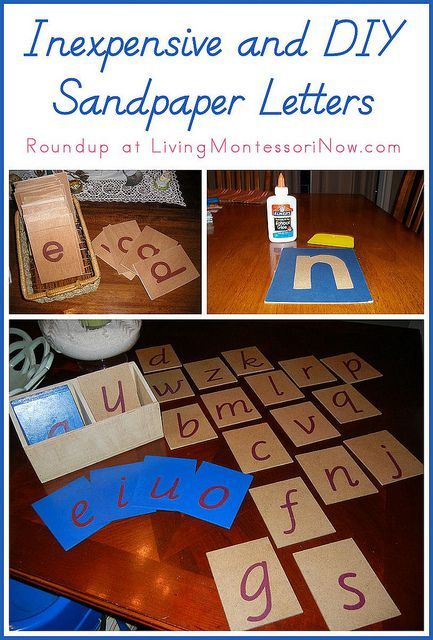 Roundup post with links to inexpensive sandpaper letters and tutorials for DIY sandpaper letters. Includes sandpaper letter presentation ideas.