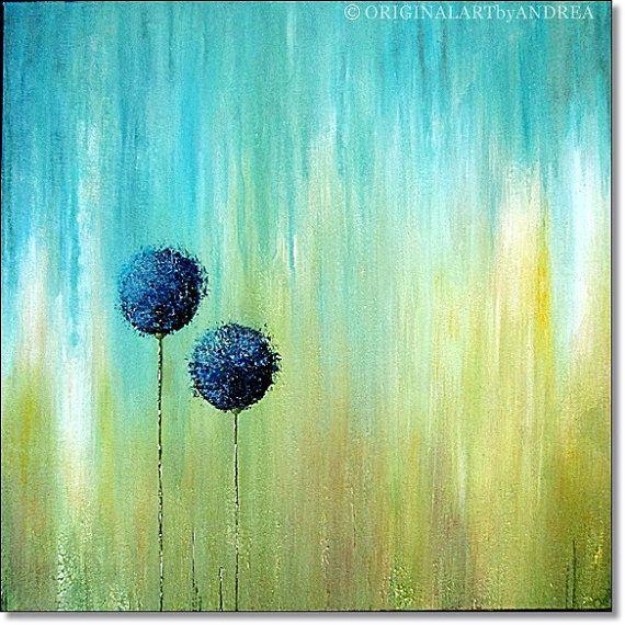 Acrylic painting abstract landscape contemporary art - Pintura azul turquesa ...