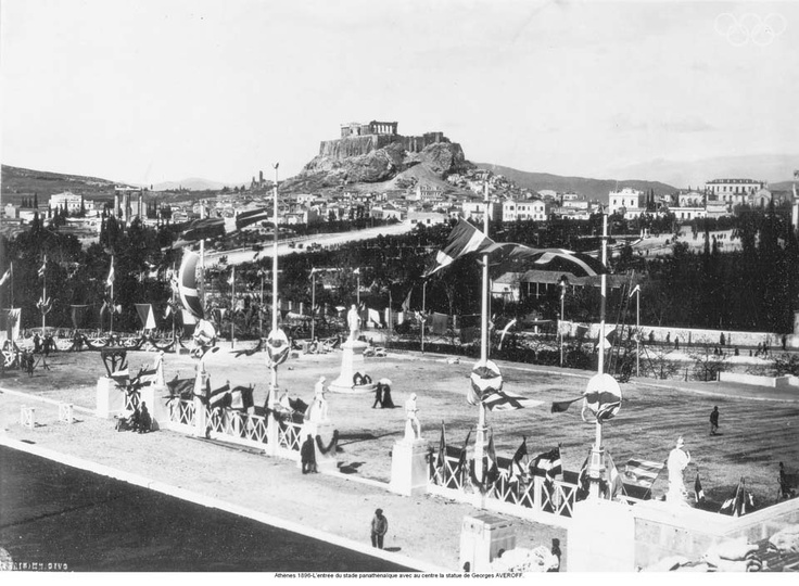 Athens 1896-Entrance of the Pan-Athenian stadium and in the middle Georges AVEROFF's statue.