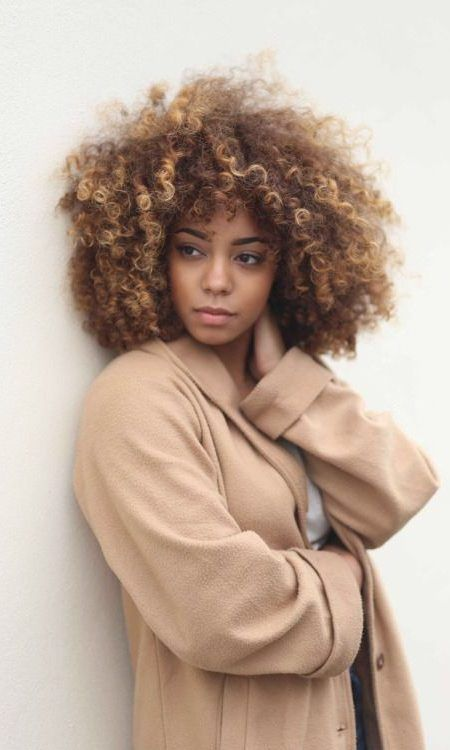 Afro curly light brown hair color 2017