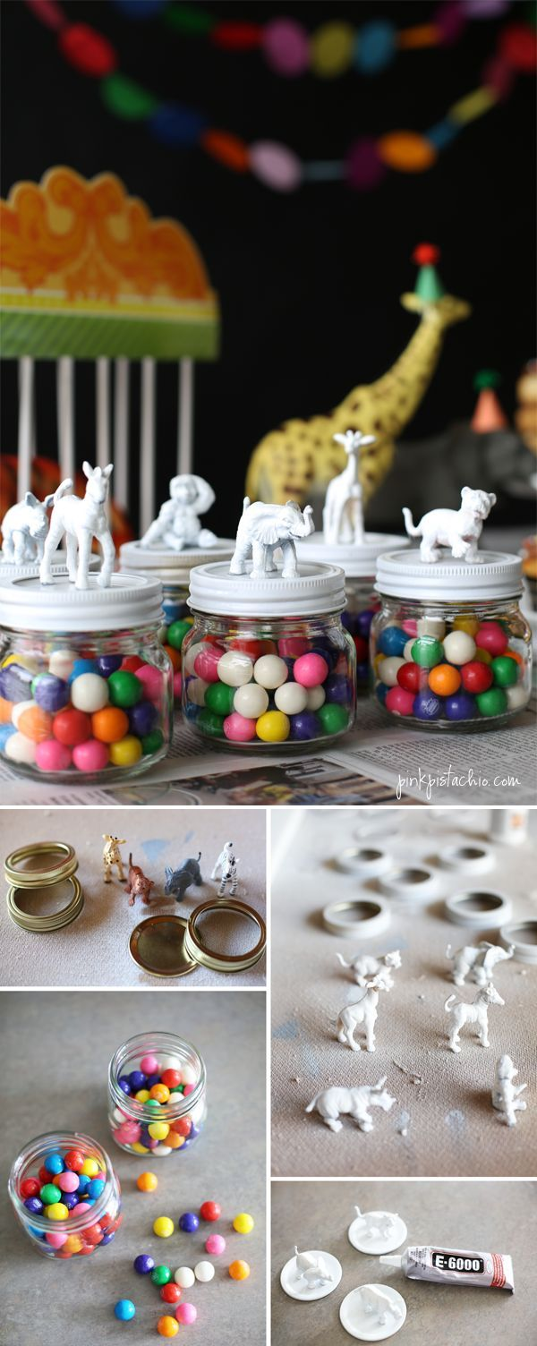 Party Favors! Paint small animal figures and put on jar lid! Great party giveaways! #partyfavors #cutepartyfavors #cutejarfavors