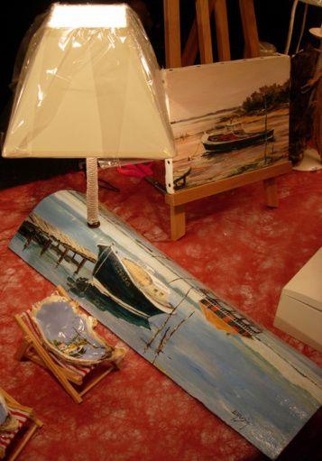 Blog de baudia :Peinture -Artisanat d'Art- Art de la Table- Papier Froissé, LAMPE SUR TUILE