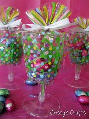 Easter Party Favors--bags, goblets, candy, and grass can be found at the dollar store.
