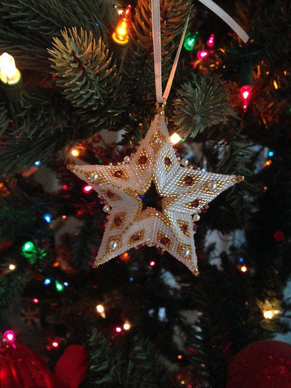 Handmade Beaded Star Christmas Ornament amethyst / white
