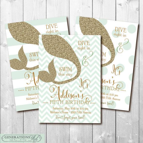 Mermaid/Swim Birthday Party Invitation with Gold Glitter detail / DIGITAL FILE / choose a background/wording, age & colors can be changed
