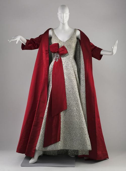 Arnold Scaasi | Ensemble | c. 1958  The simplicity of the cut makes me swoon.   And when did we stop wearing coats with our gowns? I would die to see an opera coat on a red carpet today.