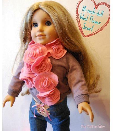 """Tutorial: Wool felt flower scarf for an 18"""" doll"""