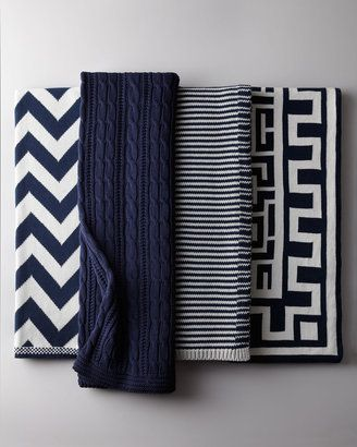 home decor & interior design - ShopStyle: Neiman Marcus Navy and White Cotton Throws
