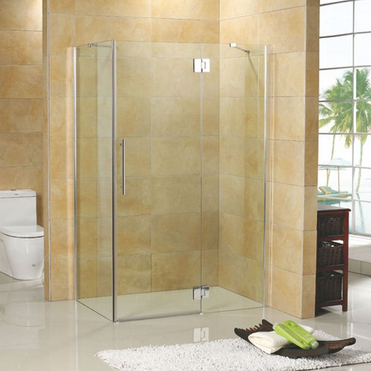 """46"""" x 34"""" Suzanne Corner Shower Enclosure - with Tray - Right Drain - Brushed Nickel"""