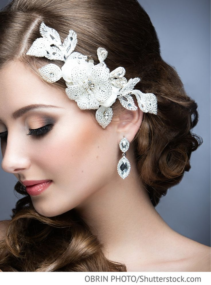 Brautschmuck Gesteck Spitzenblüten an Clip aus Spitze mit Strass für russische Hochzeiten