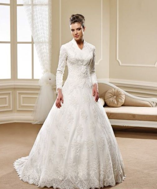 style 5448 modest church wedding dresses with long sleeves