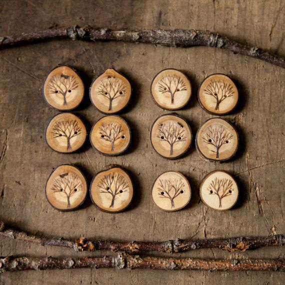 Set of 2 wood burned branch slice buttons. Tree design. Handmade wooden buttons
