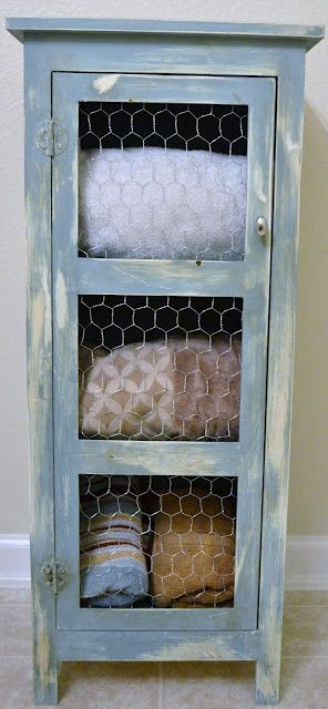 chicken wire hutch turned bathroom storageOpen Shelves, Bathroom Storage, Chicken Wire, Sweets Teas, Shabby Sweets, Annie Sloan, Shabby Chic Bathroom, Chalk Painting, Painting Cabinets