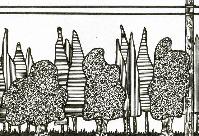 #trees #art #doodle - fun line drawing project idea