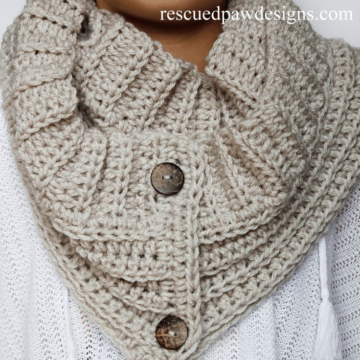 The Andy Button Scarf Pattern || FREE CROCHET PATTERN || by Rescued Paw Designs