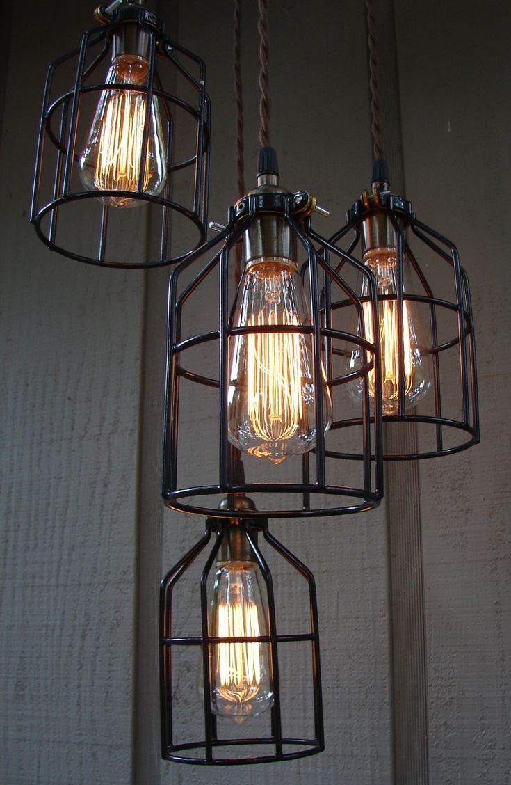 Upcycled industrial edison bulb cage hanging pendant light for Retro light fixtures kitchen