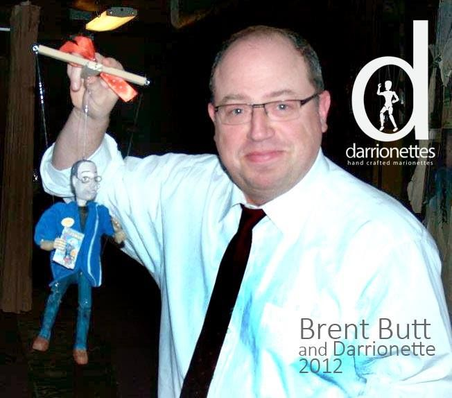 Canadian Comedian Brent Butt and his mini version of his Corner Gas character