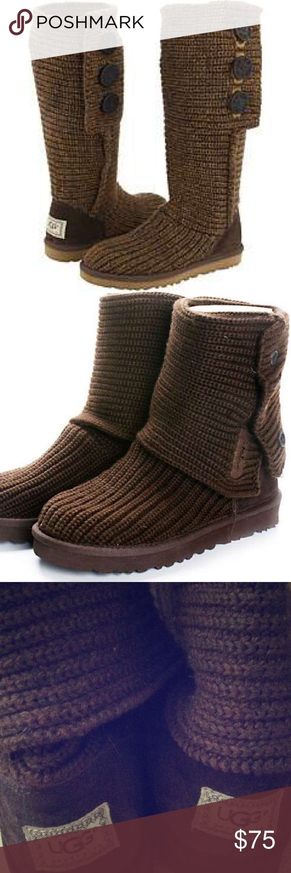 """Ugg Cardy🍂HOST PICK 11/22🍁FALL FAVORITES🍂 Authentic Classic Cardy Ugg® comfort you will love. It's functional buttons you can style them 3 diff. ways: All the way up, unbuttoned,and cuffed, or slouched down. This favorite boot provides cushioning, traction & durability. Will fit 7 or 8 they have tons of streatch Material: 50% Wool, 50% Acrylic, Wood Buttons, wool insole, Treadlite by UGG™ outsole, 14 1/2"""" Shaft ✨Great Condition, hardly worn, only flaw is nicks on buttons shown price…"""