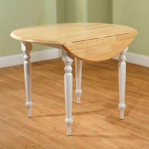 Dining Table Round Drop Leaf White Natural Solid Rubber Wood Construction Turned