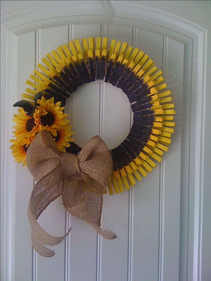 Clothes pin wreath, Sunflowers and Wreaths on Pinterest
