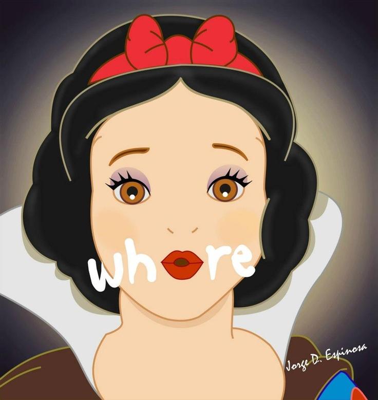whore, Disney princess, snow white, sketch by Jorge D. Espinosa