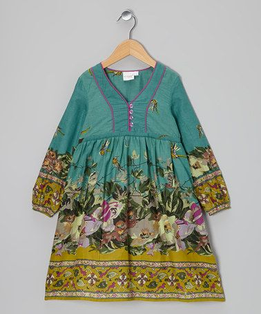 Take a look at this Teal Floral A-Line Dress - Toddler & Girls by Yo Baby on #zulily today!