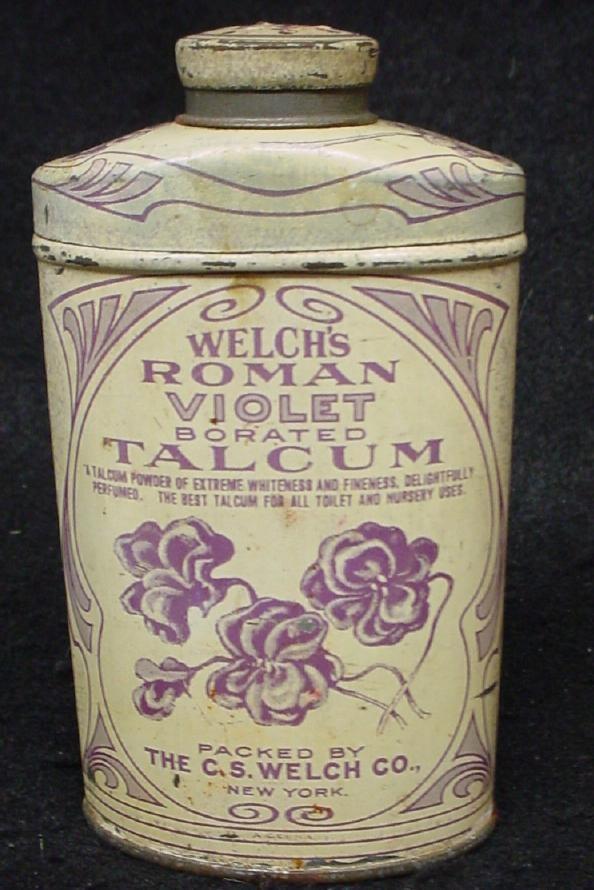 Old Welch Roman Violet Talcum Powder Tin | eBay