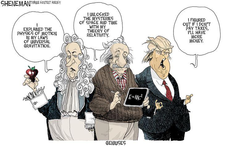 Editorial cartoon on Donald Trump and tax returns