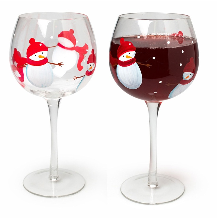 Snowman Wine Glasses.: Wine Glass, Wineglass