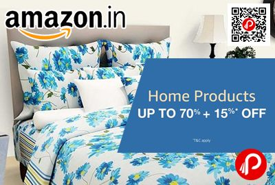 Amazon is offering Upto 70% off + 15% off on Home Products. Buy 2 products, Get additional 10% off Buy 3 or more products, Get additional 15% off  http://www.paisebachaoindia.com/home-products-upto-70-off-15-off-amazon/