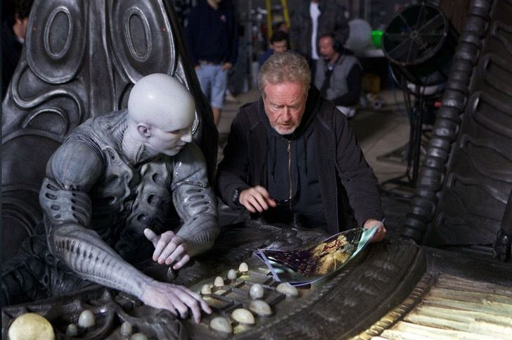 Ian Whyte who played the Last Engineer with director Ridley Scott behind the scenes on #Prometheus (2012).