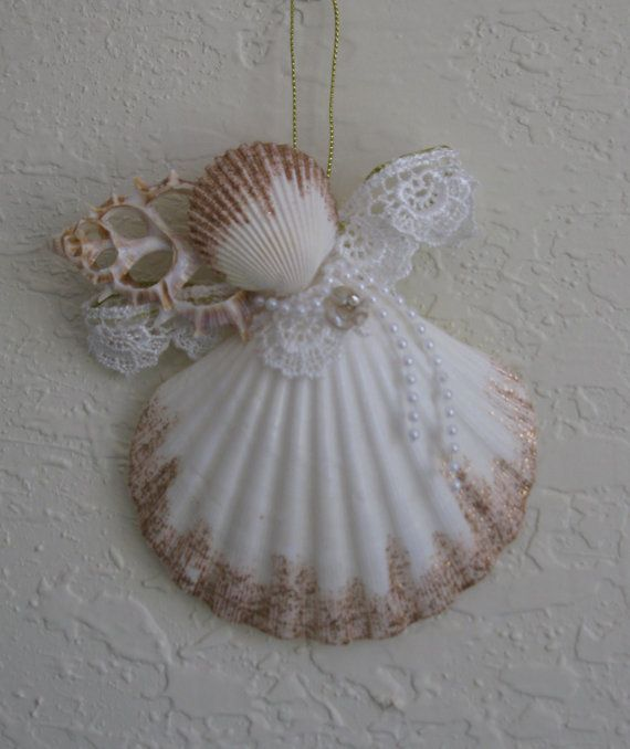 seashell angel ornament lace and pearl encrusted large