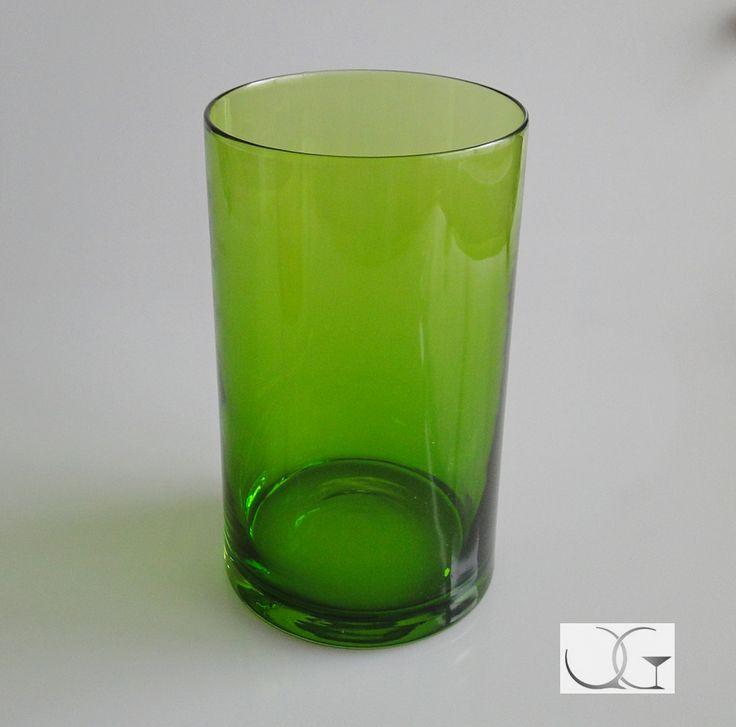 Wazon szklany Zielone Noce h-25 przezroczysty zielony na kwiaty, świecznik