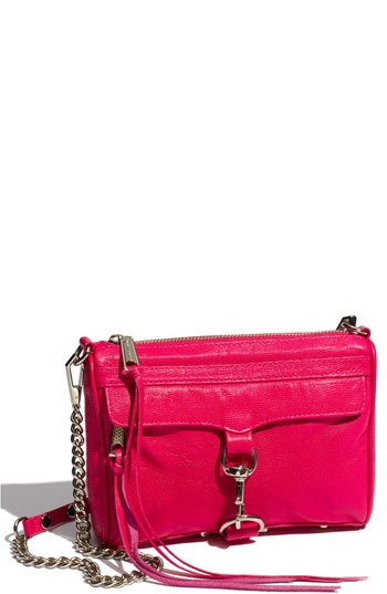 Rebecca Minkoff 'Mini MAC' Croc Embossed Clutch in Electric Pink - $195