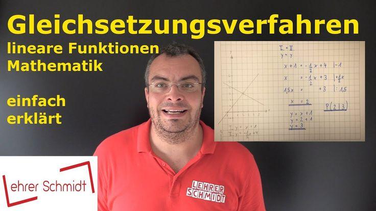Gleichsetzungsverfahren mit Zeichnung, Mathematik, lineare Gleichungen, Terme, einfach erklärt