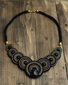 Soutache necklace Black and gold necklace with by CeladonJewelry
