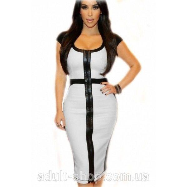 Элегантное черно белое платье миди