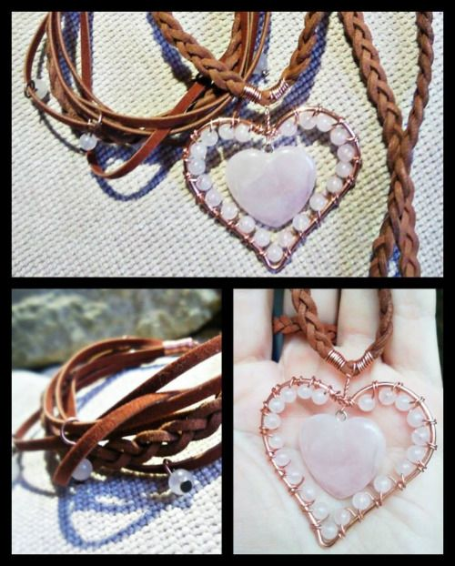 rose quartz #heart #necklace