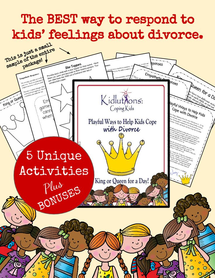 The best way to respond to kids' feelings about divorce.  5 unique activities, a bonus workbook and bonus guide about helping kids communicate about their feelings surrounding the divorce.
