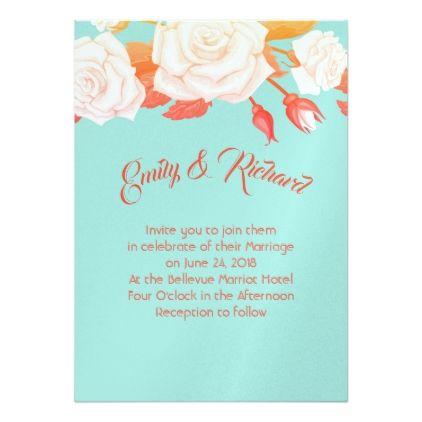 Wedding Invitation-Aqua Orange & Roses Card - marriage invitations wedding party cards invitation
