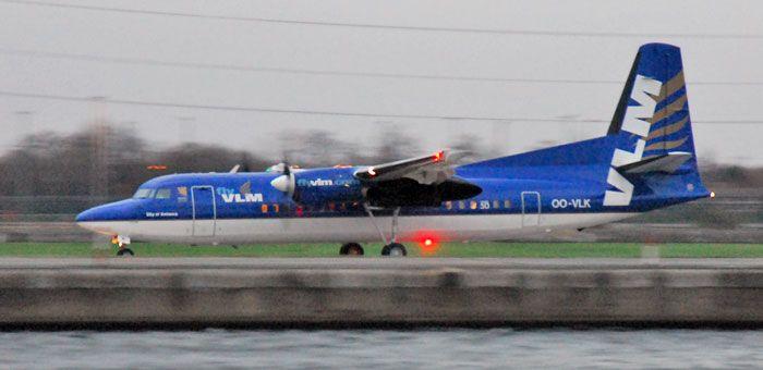 OO-VLK VLM Airlines Fokker 50 plane. http://www.airpowercarriers.org/vlm-airlines/oo-vlk-vlm-airlines-fokker-50.htm