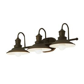 Jack and Jill Bathroom Lighting: allen roth 3-Light Hainsbrook Bronze Bathroom Vanity Light