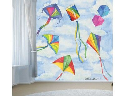Kites. A wall mural from Muralunique.com. This is an original painting from Barbara Brower. https://www.muralunique.com/kites-7-5-x-8-2-29m-x-2-44m.html